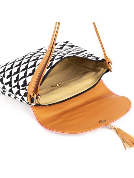 White Black Geometric Hand Block Print Adjustable Sling Bag with Leather Tassle-3