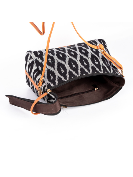 Handcrafted Black and White Ikkat Fabric Sling Bag with Cruelty free Leather Belt-2