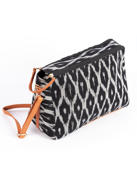 Handcrafted Black and White Ikkat Fabric Sling Bag with Cruelty free Leather Belt-1