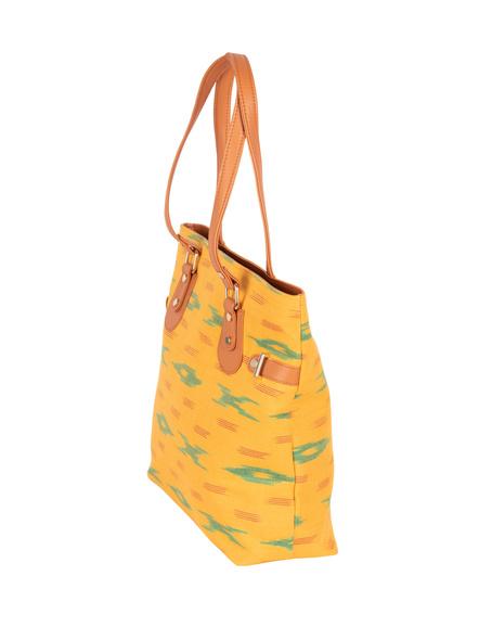 Handcrafted Yellow Green Designer Ikkat Fabric Bag with cruelty Free Premium Leather Belt-1