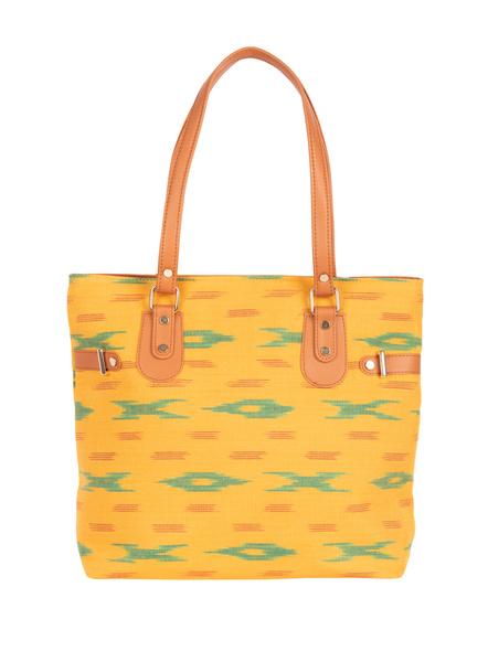 Handcrafted Yellow Green Designer Ikkat Fabric Bag with cruelty Free Premium Leather Belt-3