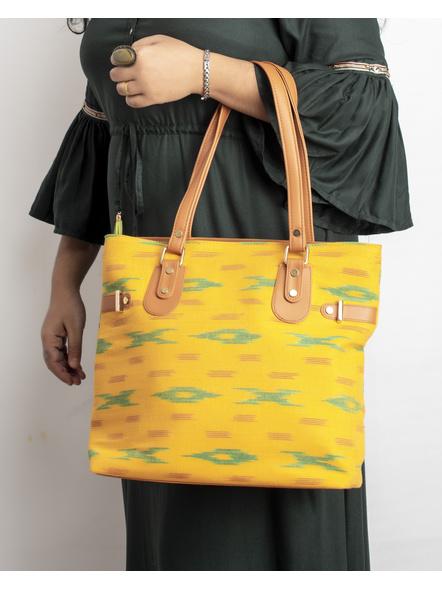 Handcrafted Yellow Green Designer Ikkat Fabric Bag with cruelty Free Premium Leather Belt-2