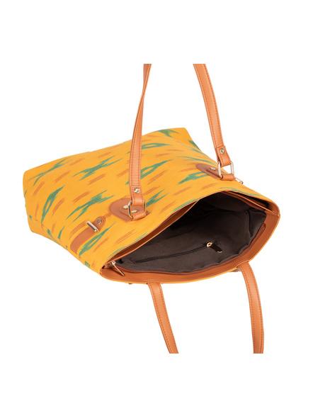 Handcrafted Yellow Green Designer Ikkat Fabric Bag with cruelty Free Premium Leather Belt-4