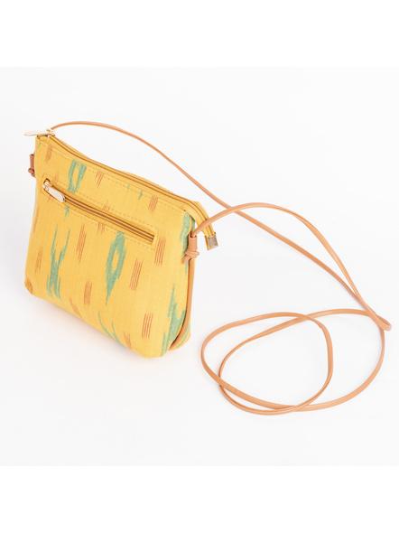 Handcrafted Green Yellow Designer Ikkat Fabric Bag with cruelty Free Premium Leather Belt-1