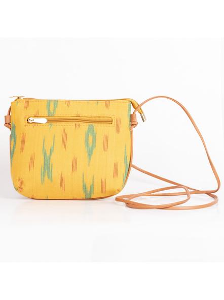 Handcrafted Green Yellow Designer Ikkat Fabric Bag with cruelty Free Premium Leather Belt-2