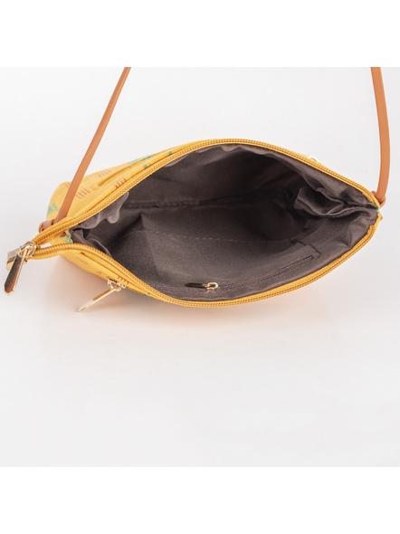 Handcrafted Green Yellow Designer Ikkat Fabric Bag with cruelty Free Premium Leather Belt-3
