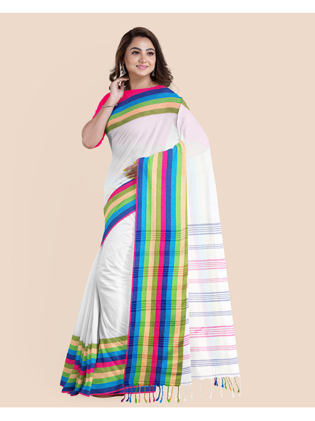 White Handwoven Khadi Cotton Santipuri Multicolor Mahapaar Saree with Blouse Piece-LAAHKBSWBP008
