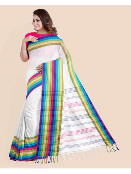 White Handwoven Khadi Cotton Santipuri Multicolor Mahapaar Saree with Blouse Piece-2