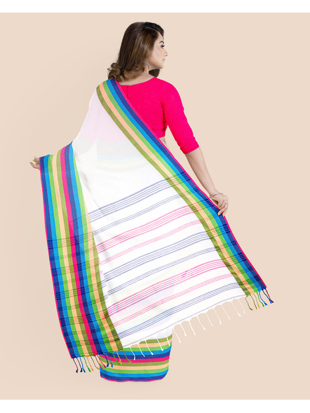 White Handwoven Khadi Cotton Santipuri Multicolor Mahapaar Saree with Blouse Piece-1