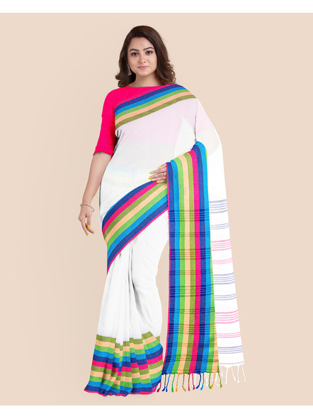 White Handwoven Khadi Cotton Santipuri Multicolor Mahapaar Saree with Blouse Piece-3