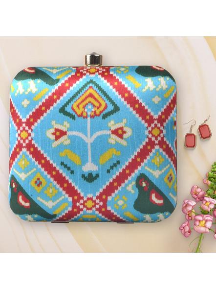 Handcrafted Square Sky Blue American Crepe Printed Ikkat Designer Clutch cum Sling Bag-LAASQCLU001