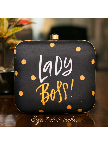 Handcrafted Square Black Yellow American Crepe Lady Boss Printed Designer Clutch cum Sling Bag-LAASQCLU002
