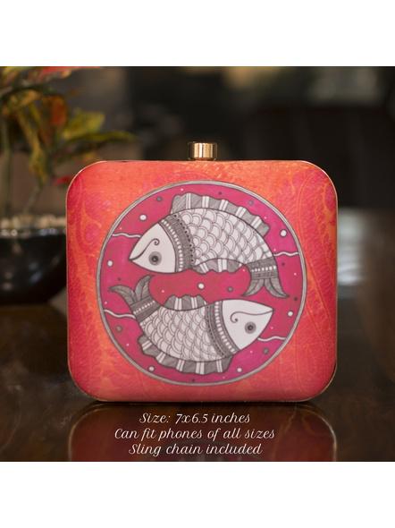 Handcrafted Square Pink Orange American Crepe Madhubani Fish Printed Designer Clutch cum Sling Bag-LAASQCLU004