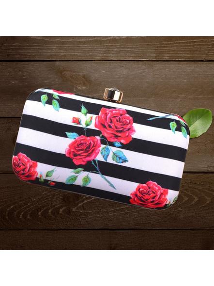 Handcrafted Rectangular Black and White American Crepe Rose Printed Designer Clutch cum Sling Bag-LAARECLU002
