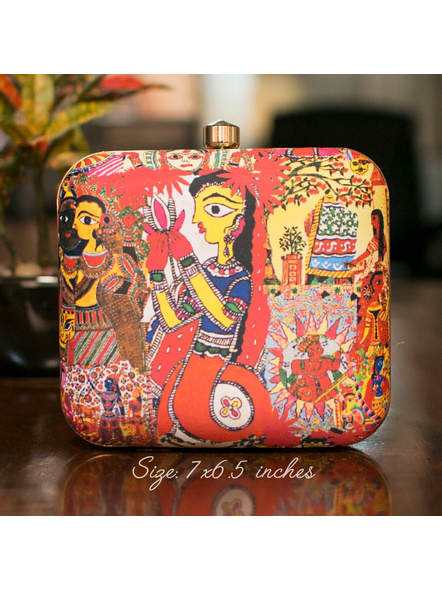Handcrafted Square Red American Crepe Madhubani Women Painting Printed Designer Clutch cum Sling Bag-LAASQCLU005