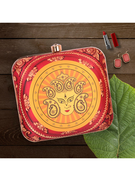 Handcrafted Square Red Yellow American Crepe Devi Durga Designer Clutch cum Sling Bag-LAASQCLU006