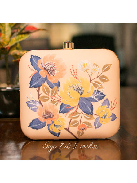 Handcrafted Square American Crepe Pastel Floral Designer Clutch cum Sling Bag-LAASQCLU008