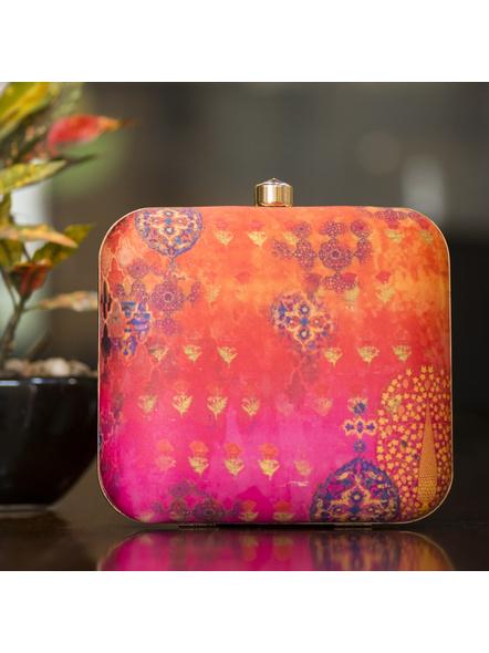 Handcrafted Square Orange Pink American Crepe Designer Clutch cum Sling Bag-LAASQCLU009