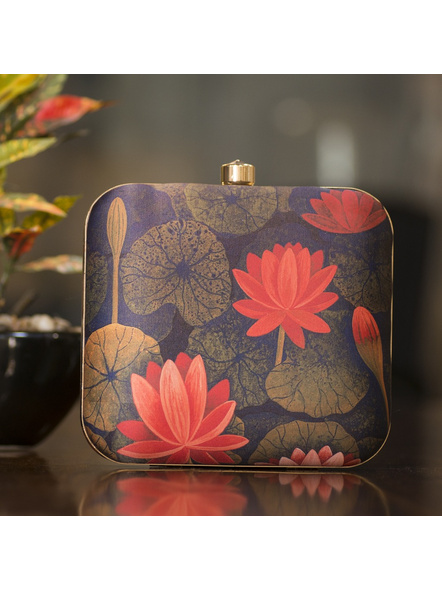 Handcrafted Square Blue Red American Crepe Lotus Designer Clutch cum Sling Bag-LAASQCLU010