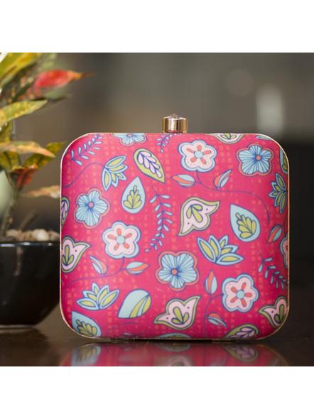 Handcrafted Square Pink American Crepe Flower Designer Clutch cum Sling Bag-LAASQCLU012