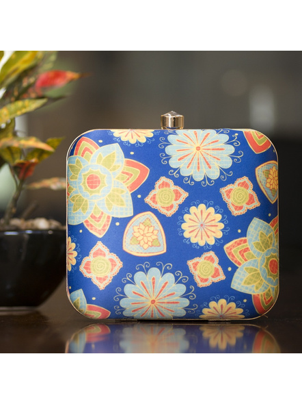 Handcrafted Square Blue American Crepe Floral Designer Clutch cum Sling Bag-LAASQCLU013