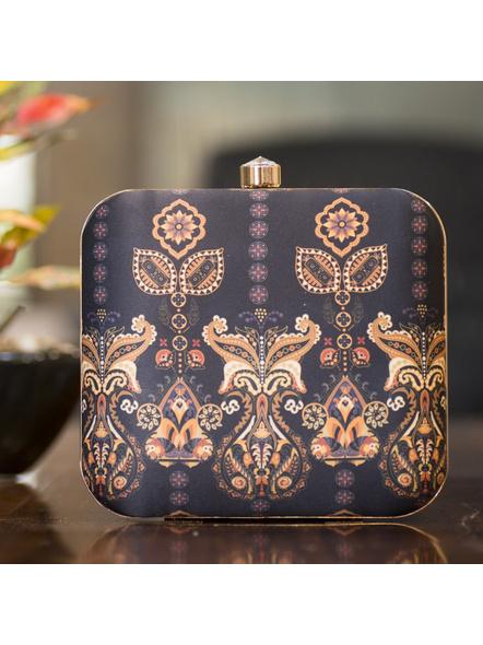 Handcrafted Square Black American Crepe Floral Designer Clutch cum Sling Bag-LAASQCLU014