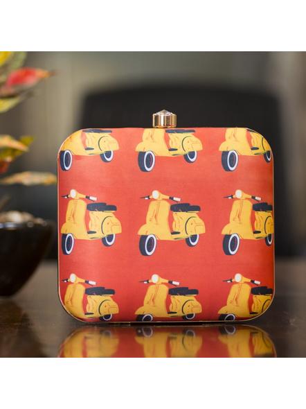 Square Yellow Scooter American Crepe Designer Clutch cum Sling Bag-LAASQCLU015