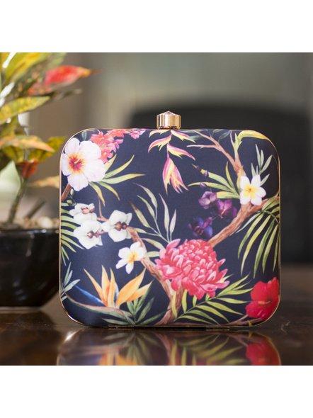Handcrafted Square American Crepe Floral Designer Clutch cum Sling Bag-LAASQCLU016