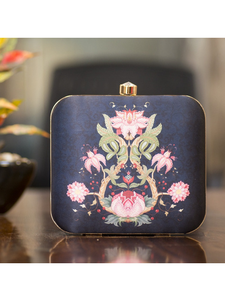 Handcrafted Square American Crepe Designer Floral Clutch cum Sling Bag-LAASQCLU018