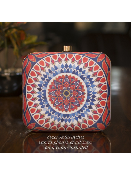 Handcrafted Square Red White American Crepe Mandala Designer Clutch cum Sling Bag-LAASQCLU019