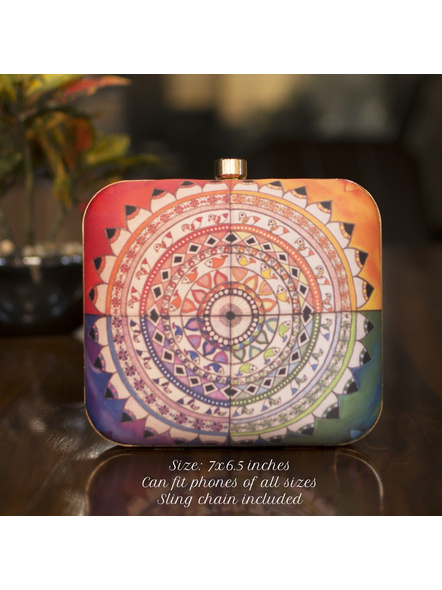 Handcrafted Square Multi Colored American Crepe Madhubani Mandala Designer Clutch cum Sling Bag-LAASQCLU020