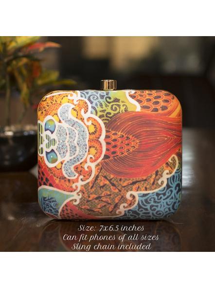 Handcrafted Square American Crepe Multicolored Designer Clutch cum Sling Bag-LAASQCLU022