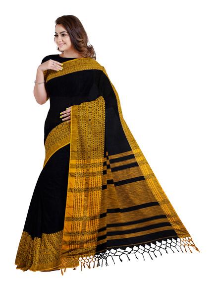 Black Mustard Yellow Handwoven Khadi Cotton Begumpuri Mahapaar Saree with Blouse Piece-2