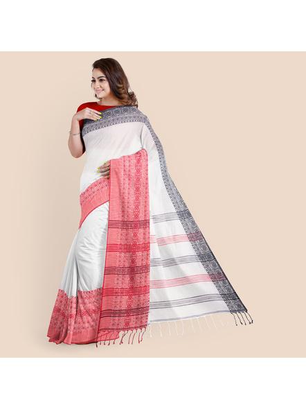 White Red Black Handwoven Khadi Cotton Begumpuri Ganga Jamuna Mahapaar Saree with Blouse Piece-White-Khadi Cotton-Free-Female-Adult-4
