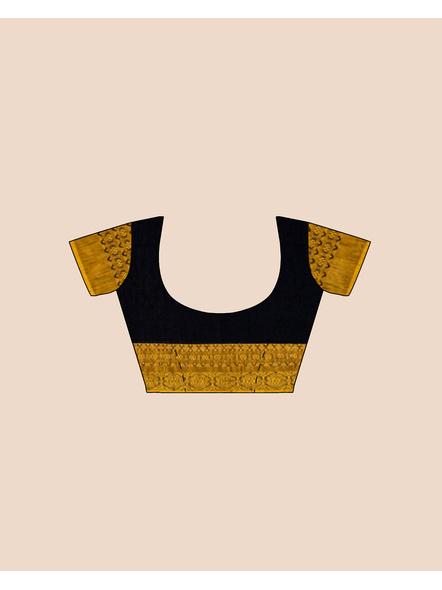 Black Mustard Yellow Handwoven Khadi Cotton Begumpuri Mahapaar Saree with Blouse Piece-5