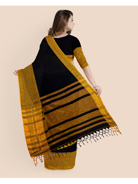 Black Mustard Yellow Handwoven Khadi Cotton Begumpuri Mahapaar Saree with Blouse Piece-1