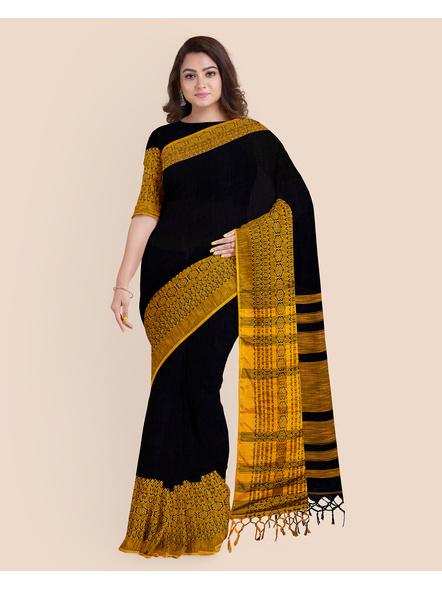 Black Mustard Yellow Handwoven Khadi Cotton Begumpuri Mahapaar Saree with Blouse Piece-3