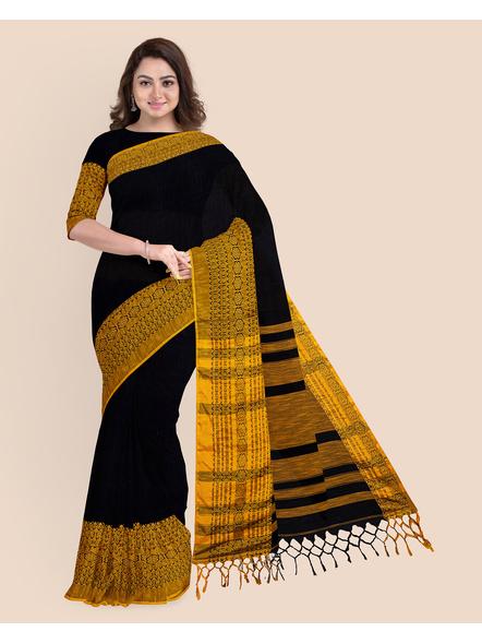 Black Mustard Yellow Handwoven Khadi Cotton Begumpuri Mahapaar Saree with Blouse Piece-LAAHKBSWBP009