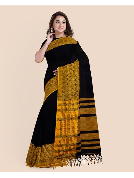 Black Mustard Yellow Handwoven Khadi Cotton Begumpuri Mahapaar Saree with Blouse Piece-4