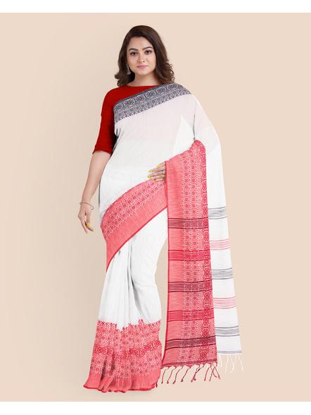 White Red Black Handwoven Khadi Cotton Begumpuri Ganga Jamuna Mahapaar Saree with Blouse Piece-White-Khadi Cotton-Free-Female-Adult-3