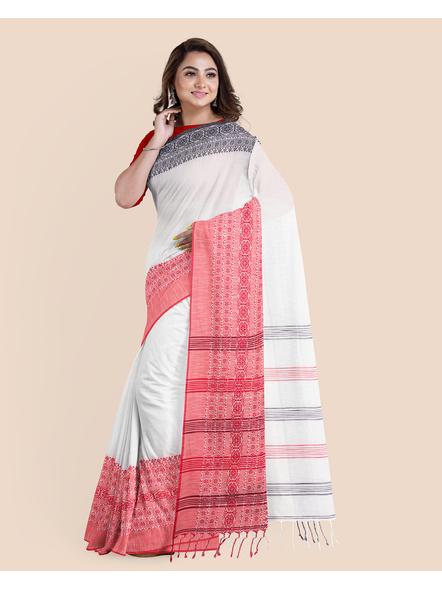 White Red Black Handwoven Khadi Cotton Begumpuri Ganga Jamuna Mahapaar Saree with Blouse Piece-LAAHKBSWBP010