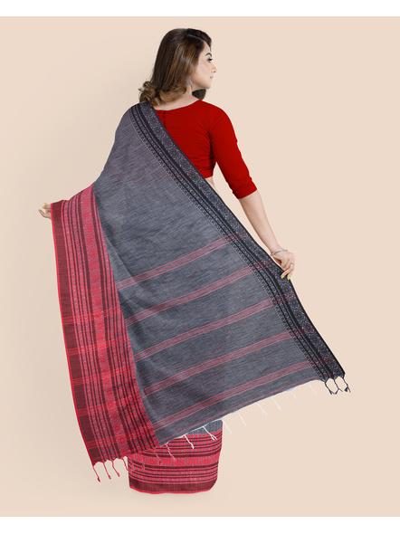 Grey Red Black Handwoven Khadi Cotton Begumpuri Ganga Jamuna Mahapaar Saree with Blouse Piece-1