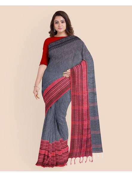 Grey Red Black Handwoven Khadi Cotton Begumpuri Ganga Jamuna Mahapaar Saree with Blouse Piece-LAAHKBSWBP011