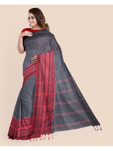 Grey Red Black Handwoven Khadi Cotton Begumpuri Ganga Jamuna Mahapaar Saree with Blouse Piece-4