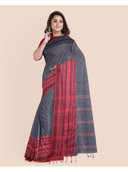 Grey Red Black Handwoven Khadi Cotton Begumpuri Ganga Jamuna Mahapaar Saree with Blouse Piece-2