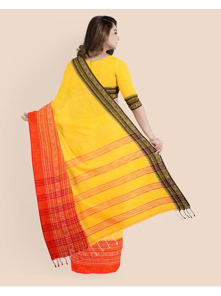 Yellow Red Black Handwoven Khadi Cotton Begumpuri Ganga Jamuna Mahapaar Saree with Blouse Piece-1