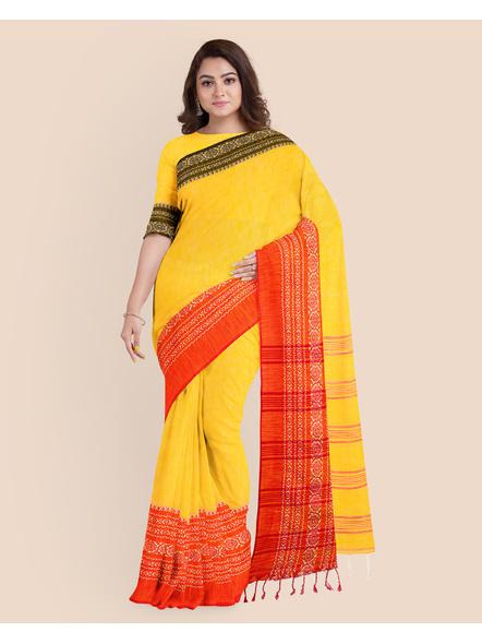 Yellow Red Black Handwoven Khadi Cotton Begumpuri Ganga Jamuna Mahapaar Saree with Blouse Piece-4
