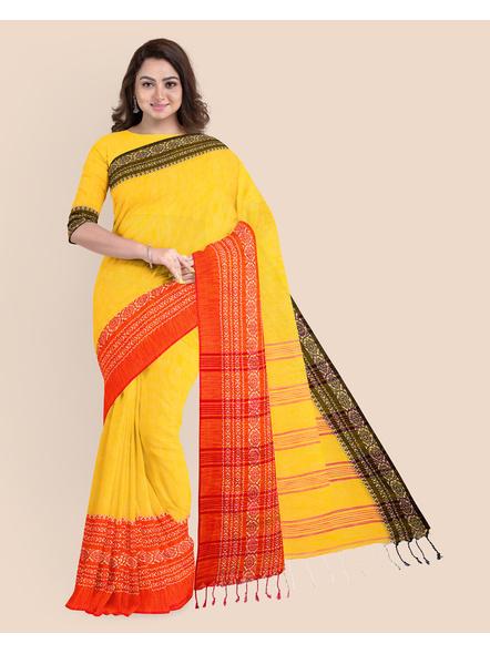 Yellow Red Black Handwoven Khadi Cotton Begumpuri Ganga Jamuna Mahapaar Saree with Blouse Piece-LAAHKBSWBP012