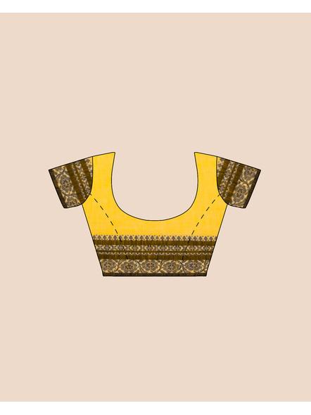 Yellow Red Black Handwoven Khadi Cotton Begumpuri Ganga Jamuna Mahapaar Saree with Blouse Piece-5
