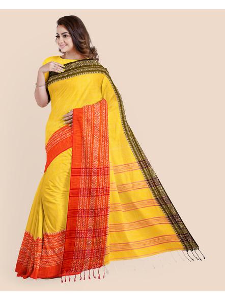 Yellow Red Black Handwoven Khadi Cotton Begumpuri Ganga Jamuna Mahapaar Saree with Blouse Piece-3
